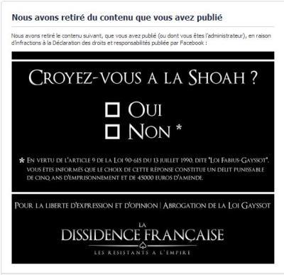 facebook censure a cause de la loi fabius gayssot