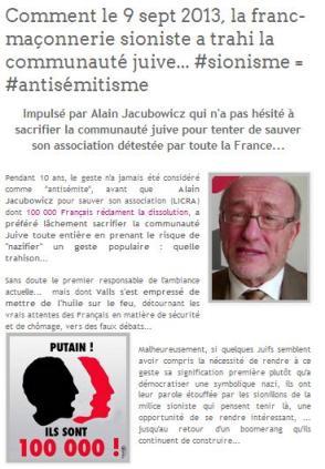 Comment le 9 septembre 2013 la franc-maconnerie sioniste a trahi la communaute juive - licra judaisme