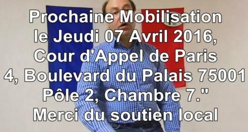 Me Danglehant, Jeudi 07 Avril 2016 13h30 Cour Appel Paris Soutien